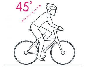 Position cycliste à 45°