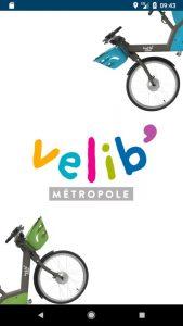 La page d'acceuil de l'application pour smartphone Vélib' Métropole