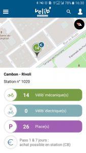 L'application Vélib' permet d'avoir des détails sur les stations à proximié