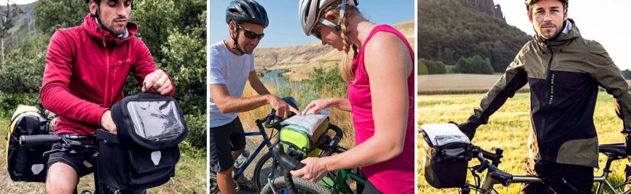 Lire sa route à vélo avec le porte carte et la sacoche guidon !
