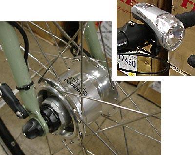 Roue vélo avec dynamo moyeu