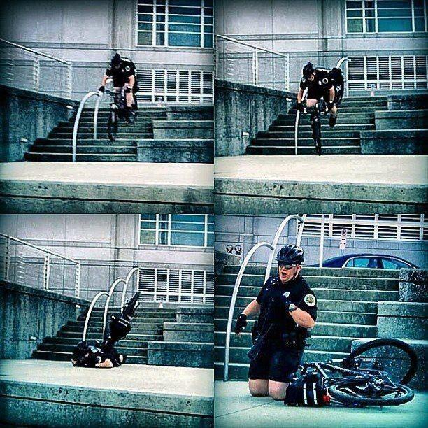 accident policier à vélo