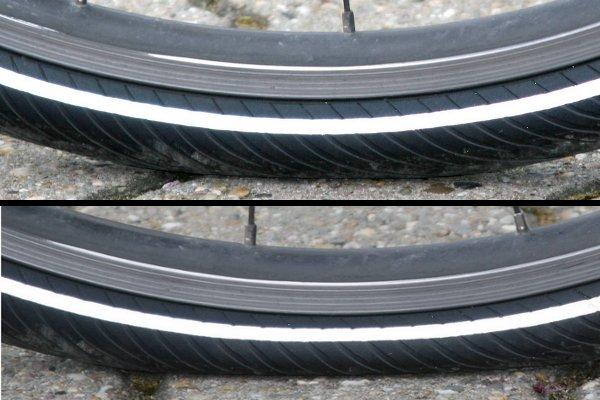 Reconnaître au visu des pneus de vélo mal gonflés
