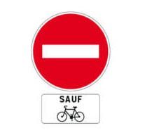 panneau sens interdit sauf vélo