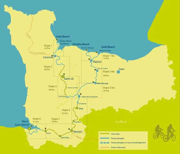 les différents parcours à vélo en Normandie