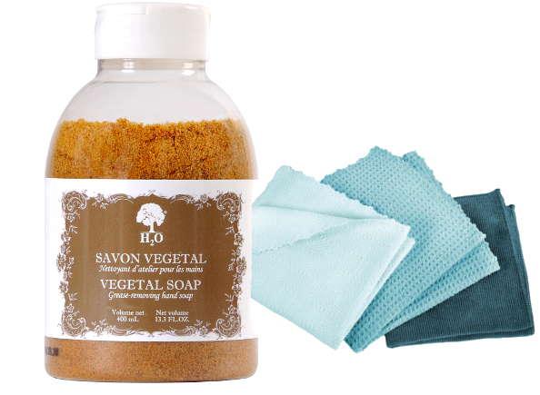 Les produits H2O : le savon végétal pour cycliste et les chiffonnettes pour vélo