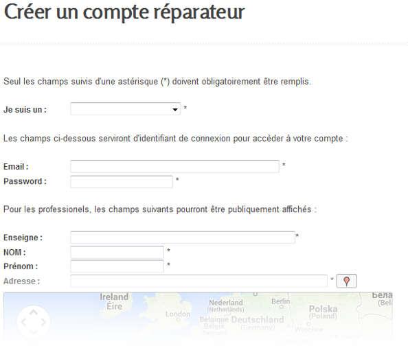 formulaire inscription reparateur velo