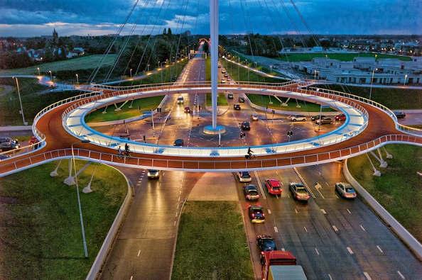 Un rond-point pour vélo aux Pays-Bas