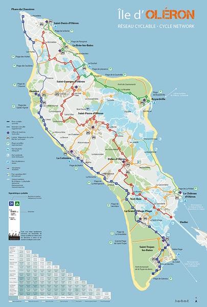 Carte des pistes cyclables de l'île d'Oléron