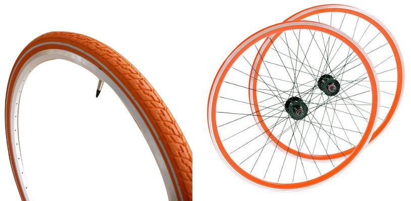 Roues et pneus vélo orange