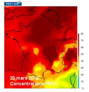 pollution de l'air, concentration au 20 mars 2015