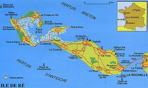 carte ile de ré piste cyclable Promener en famille à bicyclette sur l'île de Ré