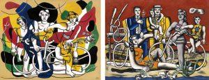 Les quatre cyclistes et Les loisirs sur fond rouge