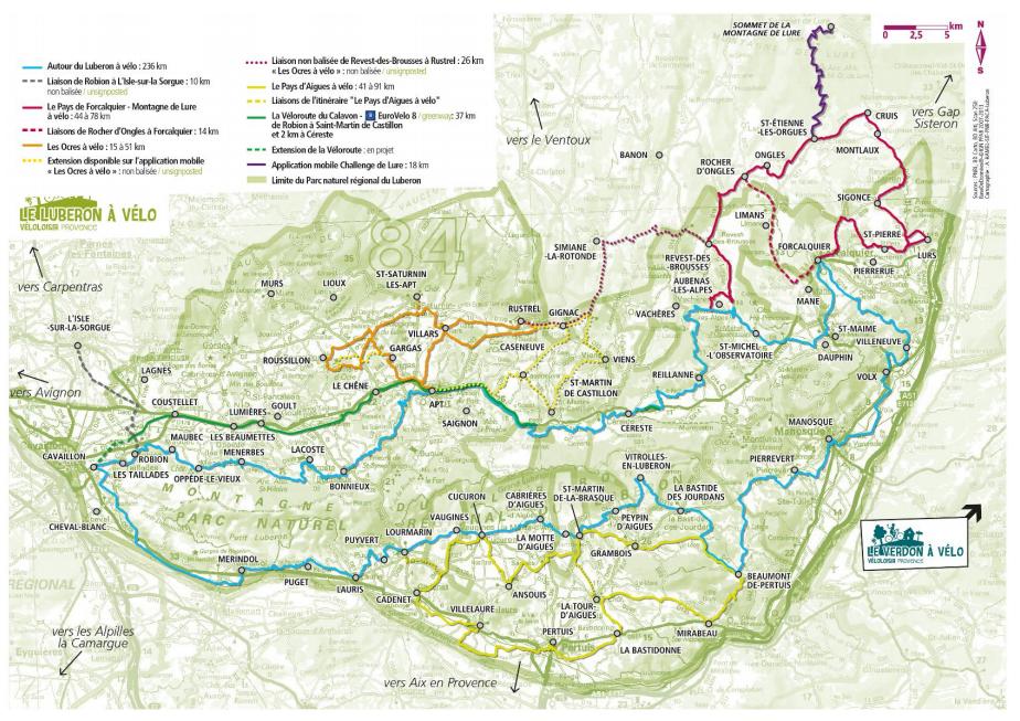 Carte du Lubéron à vélo