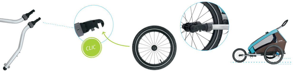 roue sportive poussette vélo crooozer