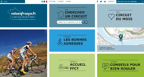 Accueil de la platefome de cyclotourisme Vélo en France
