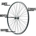 Jante, écrous, rayons et moyeu composent la roue d'un vélo