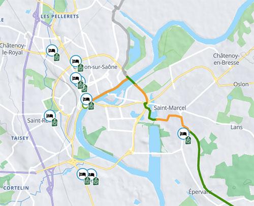 Carte des points Accueil Vélo sur France Vélo Tourisme