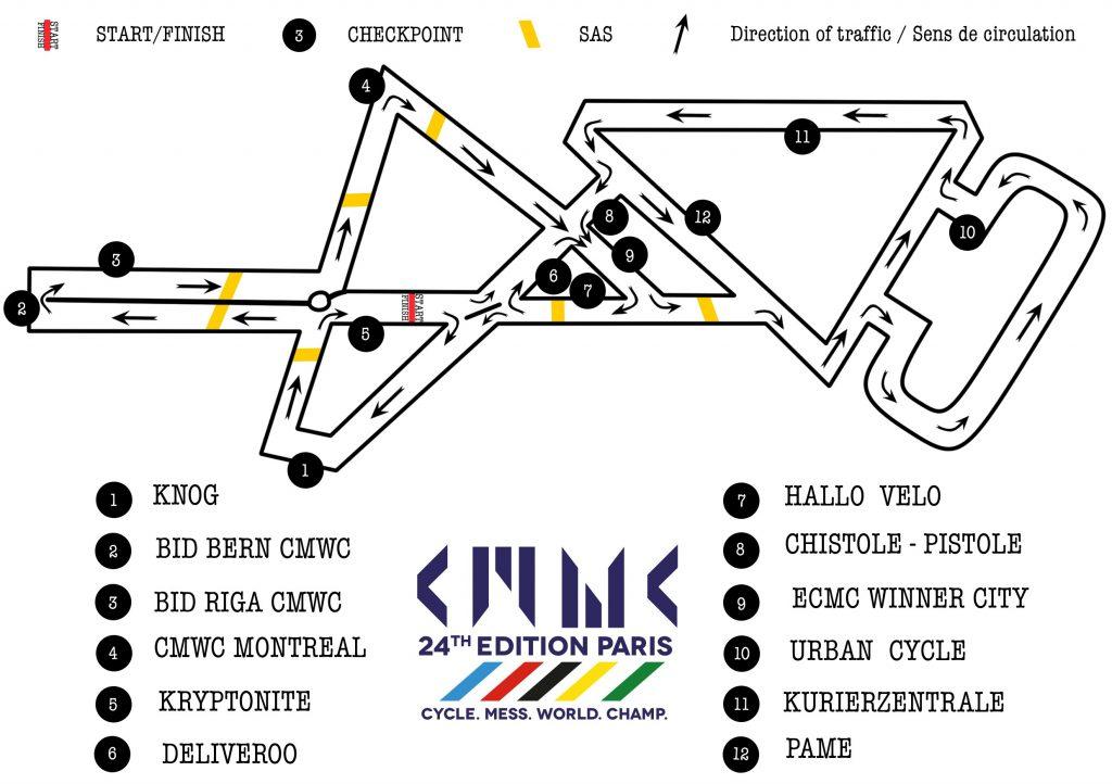 Carte du circuit de la main race pour le championnat du monde de coursier