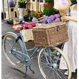 Grand coffre arrière de vélo en osier tressé taille L - Basil