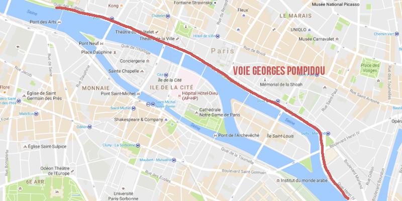 Voies sur berge Georges Pompidou à Paris