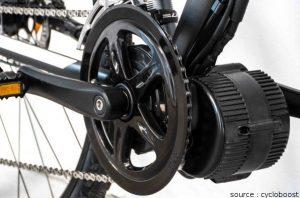 Kit moteur d'un vélo électrique installé sous le pédalier