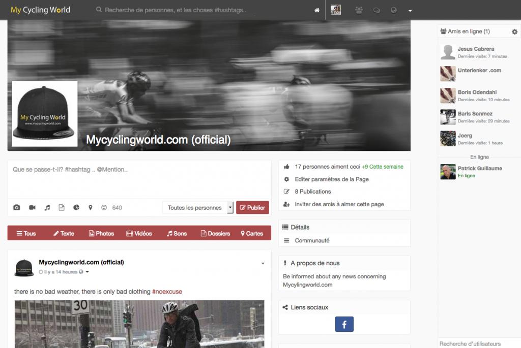 Page officielle de MyCyclingWorld