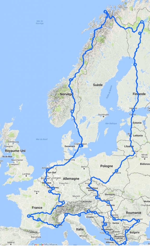 Parcours et tour d'Europe des Bikes Trotters