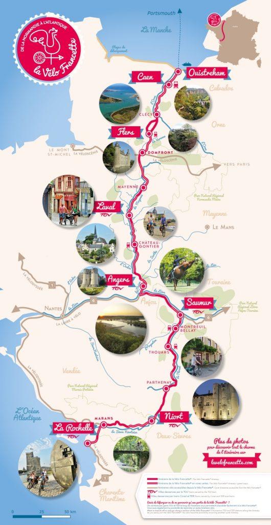 Carte du parcours de la véloroute Vélo Francette