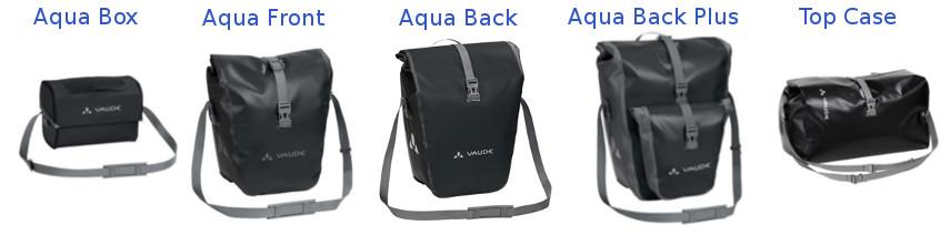 Toutes les sacoches vélo de la gamme Aqua de la marque Vaude