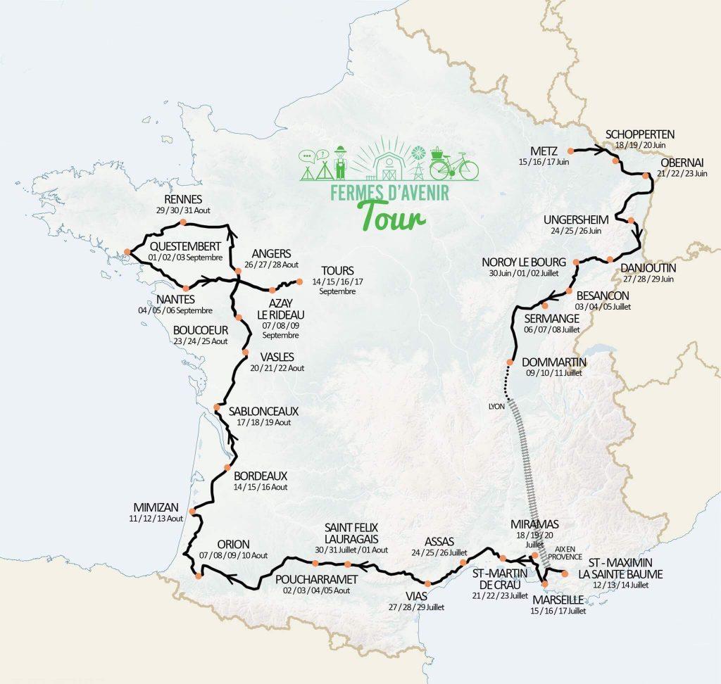 Tour à vélo avec Fermes d'Avenir, les étapes