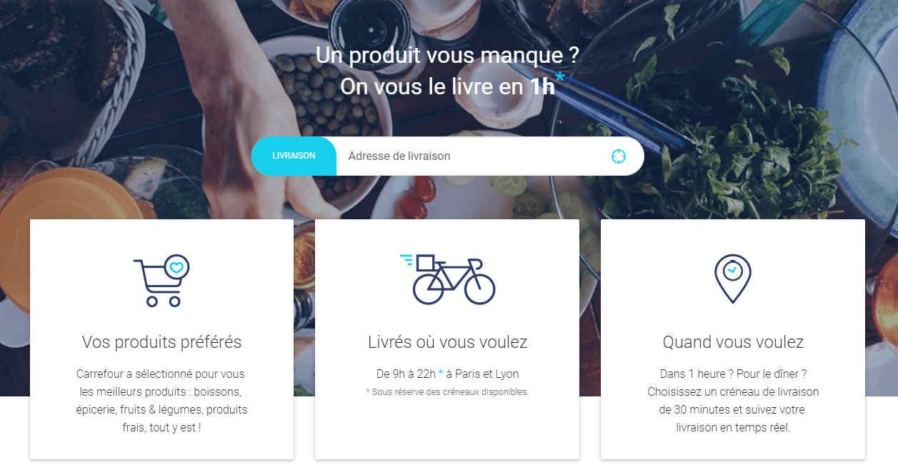 Livraison à vélo en ville Carrefour