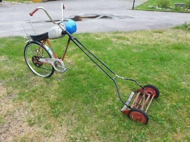 Vélos insolites : Une monture pour tondre sa pelouse avec style