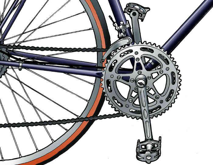 Transmission vélo en dessin