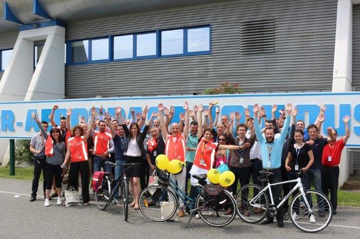 Les vélotafeurs de Lliebherr, entreprise vélo participante à Allons-y à vélo
