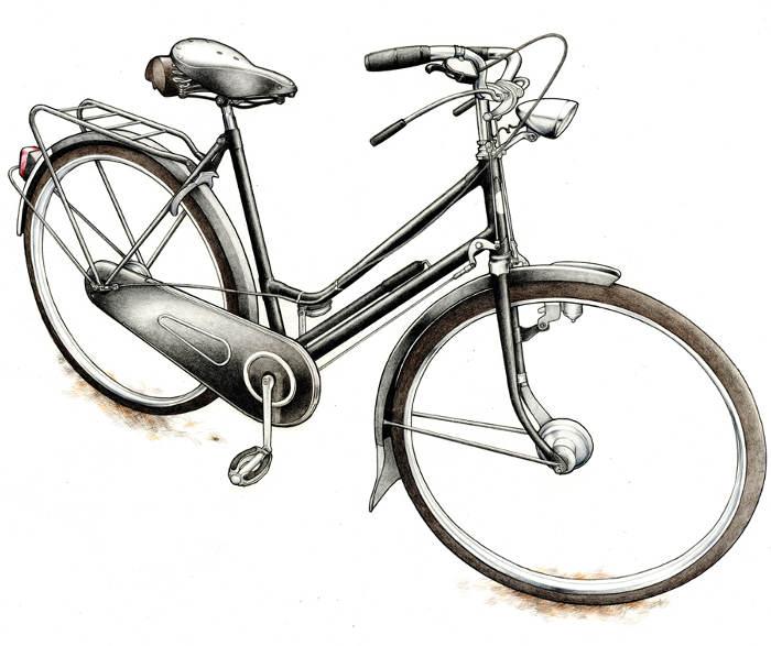 Vélo dessiné par Le crayon à pédales