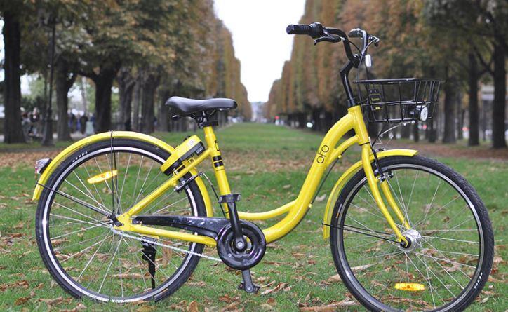 Vélo jaune en libre service d'Ofo