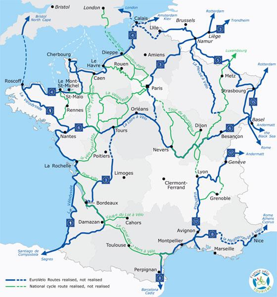 Carte des routes eurovelo de tourisme à vélo en France