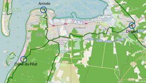 Carte itinéraire Dune de Pilat La Vélodyssée
