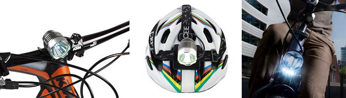 Feu sur guidon, casque et fourche de vélo