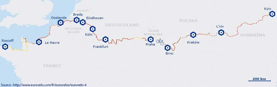 Carte de l'itinéaire de l' EuroVélo 4