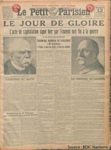 Image du journal Le Petit Parisien sur l'armistice à Compiegne