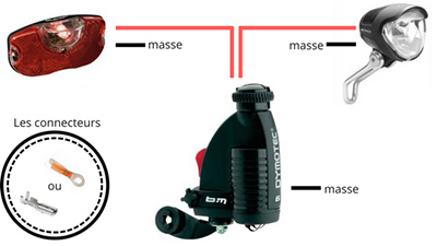 Schéma dynamo vers éclairage vélo dynamo