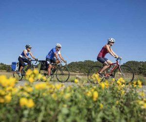 Cyclotouristes sur la véloroute de La Manche