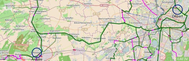 Carte itinéraire du Canal de la Bruche à vélo
