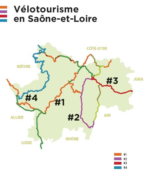 Cartographie vélotourisme en Saone et Loire