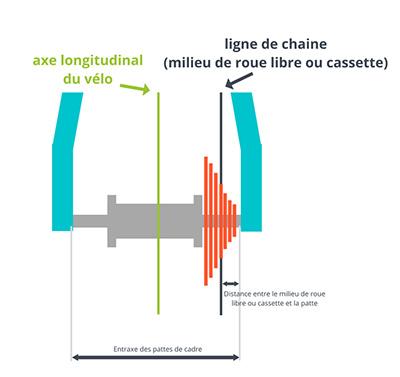 Ligne de chaine par rapportà la roue libre ou cassette