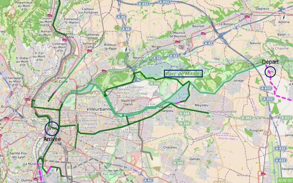 Carte itinéraire de La ViaRhôna, zoom sur Lyon