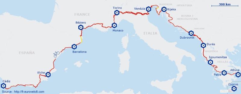 Carte itinéraire de l' EuroVelo 8