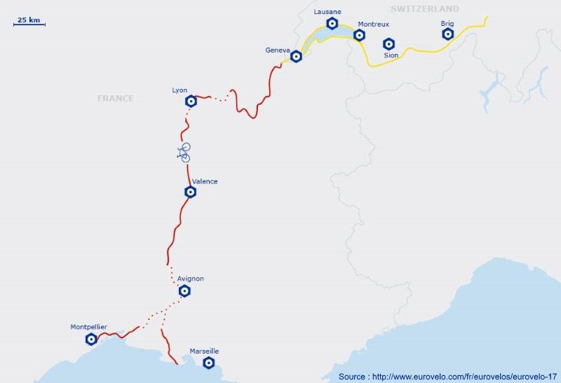 Carte itinéraire de Via Rhôna EuroVelo 17